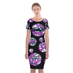 Purple Decorative Design Classic Short Sleeve Midi Dress