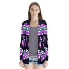 Purple decorative design Drape Collar Cardigan