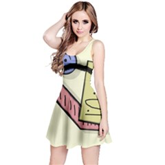 Decorative abstraction Reversible Sleeveless Dress