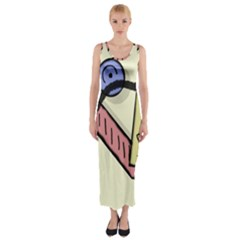Decorative abstraction Fitted Maxi Dress