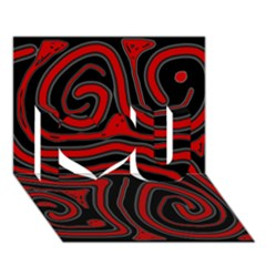 Red and black abstraction I Love You 3D Greeting Card (7x5)