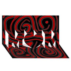 Red and black abstraction MOM 3D Greeting Card (8x4)