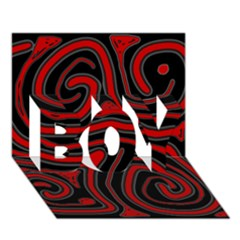 Red and black abstraction BOY 3D Greeting Card (7x5)