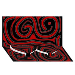 Red and black abstraction Twin Heart Bottom 3D Greeting Card (8x4)