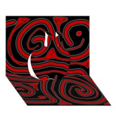 Red and black abstraction Apple 3D Greeting Card (7x5)
