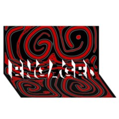 Red and black abstraction ENGAGED 3D Greeting Card (8x4)