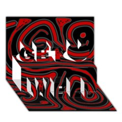 Red and black abstraction Get Well 3D Greeting Card (7x5)