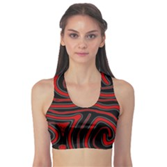 Red and black abstraction Sports Bra