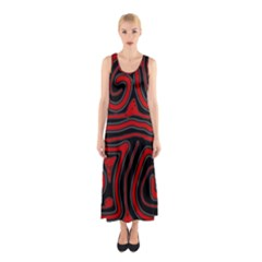 Red And Black Abstraction Sleeveless Maxi Dress