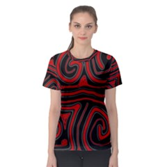 Red and black abstraction Women s Sport Mesh Tee