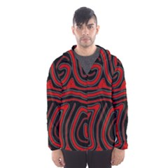 Red and black abstraction Hooded Wind Breaker (Men)