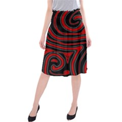 Red and black abstraction Midi Beach Skirt