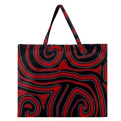 Red and black abstraction Zipper Large Tote Bag