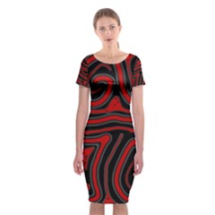 Red And Black Abstraction Classic Short Sleeve Midi Dress