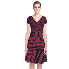 Red And Black Abstraction Short Sleeve Front Wrap Dress