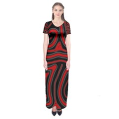 Red And Black Abstraction Short Sleeve Maxi Dress