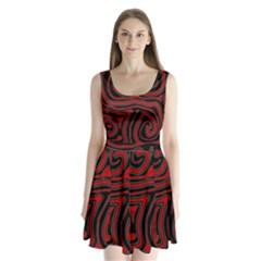 Red and black abstraction Split Back Mini Dress