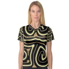 Brown elegant abstraction Women s V-Neck Sport Mesh Tee