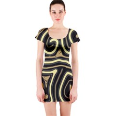 Brown elegant abstraction Short Sleeve Bodycon Dress