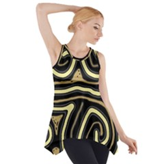 Brown Elegant Abstraction Side Drop Tank Tunic