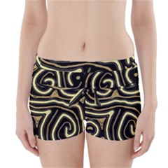 Brown elegant abstraction Boyleg Bikini Wrap Bottoms