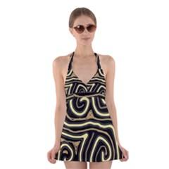 Brown elegant abstraction Halter Swimsuit Dress
