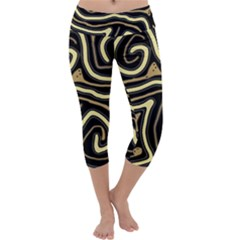 Brown elegant abstraction Capri Yoga Leggings
