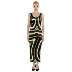 Brown Elegant Abstraction Fitted Maxi Dress
