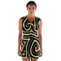 Brown elegant abstraction Wrap Front Bodycon Dress