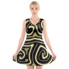Brown Elegant Abstraction V Neck Sleeveless Skater Dress