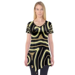 Brown elegant abstraction Short Sleeve Tunic