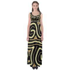 Brown elegant abstraction Empire Waist Maxi Dress