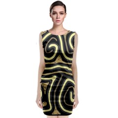 Brown Elegant Abstraction Classic Sleeveless Midi Dress
