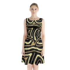 Brown Elegant Abstraction Sleeveless Waist Tie Dress