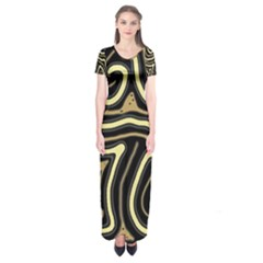 Brown elegant abstraction Short Sleeve Maxi Dress