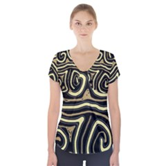 Brown elegant abstraction Short Sleeve Front Detail Top