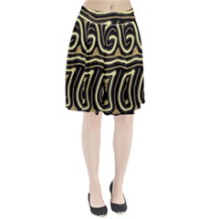 Brown elegant abstraction Pleated Mesh Skirt