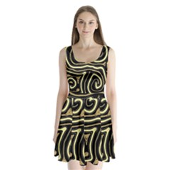 Brown elegant abstraction Split Back Mini Dress