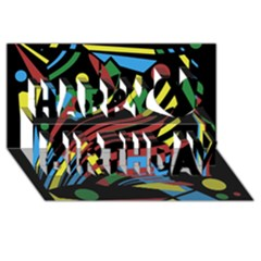 Colorful decorative abstrat design Happy Birthday 3D Greeting Card (8x4)