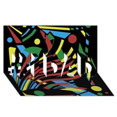 Colorful decorative abstrat design #1 DAD 3D Greeting Card (8x4)