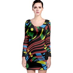 Colorful decorative abstrat design Long Sleeve Bodycon Dress