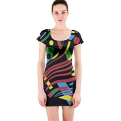 Colorful decorative abstrat design Short Sleeve Bodycon Dress