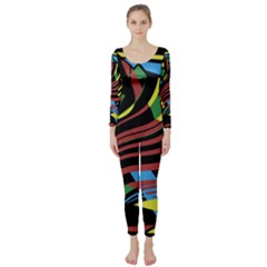 Colorful decorative abstrat design Long Sleeve Catsuit