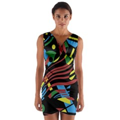 Colorful decorative abstrat design Wrap Front Bodycon Dress
