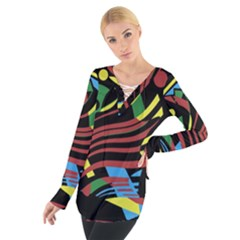 Colorful decorative abstrat design Women s Tie Up Tee