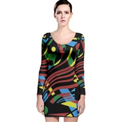 Colorful decorative abstrat design Long Sleeve Velvet Bodycon Dress