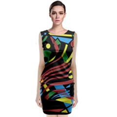 Colorful decorative abstrat design Classic Sleeveless Midi Dress