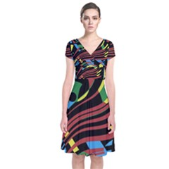Colorful Decorative Abstrat Design Short Sleeve Front Wrap Dress