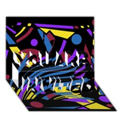 Decorative abstract design YOU ARE INVITED 3D Greeting Card (7x5)