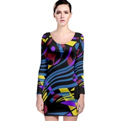 Decorative abstract design Long Sleeve Bodycon Dress